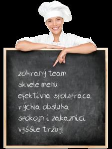 zohraný team, skvelé menu, efektívna spolupráca, rýchla obsluha, spokojní zákazníci, vyššie tržby